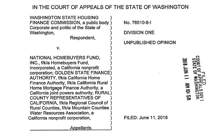 Posted on June 11, 2018 by Avi Lipman | McNaul Ebel Obtains Victory in Washington Court of Appeals for National Homebuyers Fund